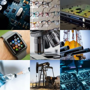 Collage of industries and applications for Aculon's surface treatment solutions