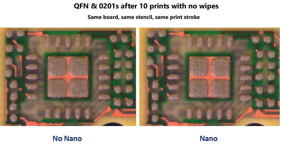 QFN and 0201s after 10 prints with and without NanoClear