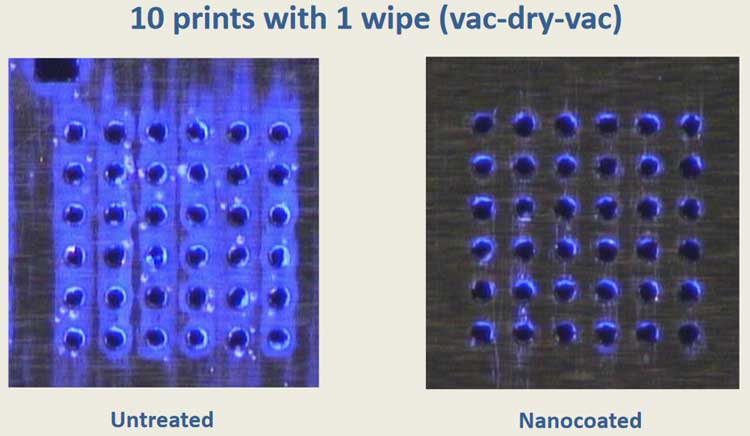 UV light showing the difference between a stencil coated with NanoClear and a non-coated stencil