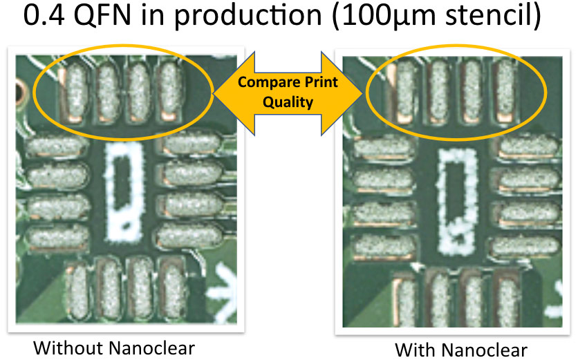 0.4 QFN in production (100µm stencil) with and without NanoClear