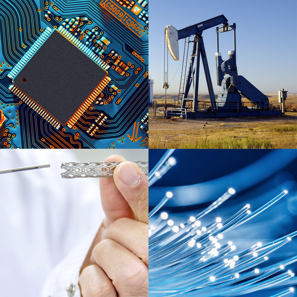 Photo collage of a circuit board, oil rig, stent valve, and optical fibers