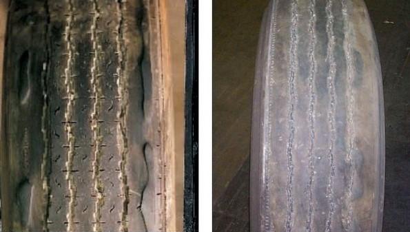 tire wear due to wheel weight delamination